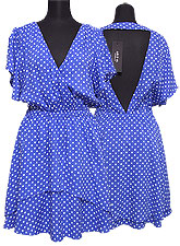 Dress072 Open-Back Polka Dot Dress/Blue