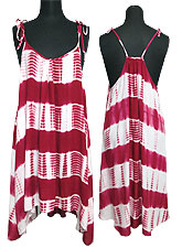 Dress092 Border Tie-Dye Tunic Dress/Raspberry