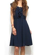 Dress104 Front-Frill Chiffon Midi Dress/Navy