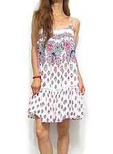 Dress107 Spaghetti Strap Jewel Print Dress/White