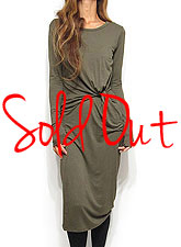 Dress115 Ruched Waist Comfy Midi Dress/Olive