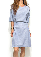 Dress119 Half Tucked Cotton Dress/Blue