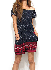 Dress125 Off Shoulder Rompers/ Paisley on Navy