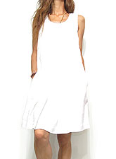 Dress137 Lace Trim Tucked Dress/White