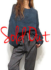 Knit206 Peasant Sleeve Box Sweater/Navy