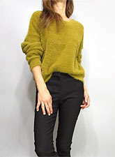 Knit215 Round Neck Fuzzy Sweater/Mustard