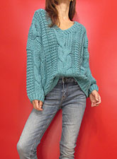 Knit220 Drop Shoulder V-Neck Cable Sweater/Sea Blue