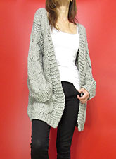Knit221 Bulky Cable Open Cardigan/Grey