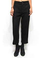 Pants158 Roll-Over Cropped Wide Pants/Black