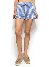 Pants171 Striped Cotton Linen Roll-Up Shorts/Blue