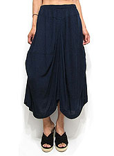 Pants193 Side Rouche Gaucho Pants/Navy