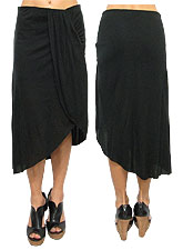 Skirt030 Ruched Assymetric Skirt/Black