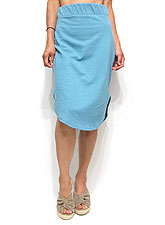 Skirt038 Round Hem Side Slit Jersey Skirt/Blue