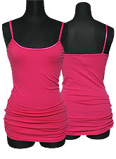 Tops124 Basic Adjustable Long Cami/Fuschia
