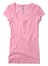 Tops129 Basic Scoop Neck S/S T-Shirt/Pink