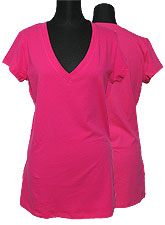 Tops216 Basic Oversized V-Neck T-Shirt/Pink