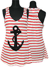 Tops224 Border Tank w/ Anchor Sequins/Red