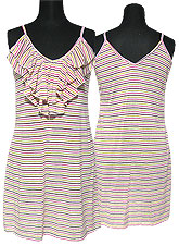 Tops256 Striped Tank Tunic w/ Frills/Pink Mix