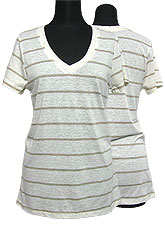 Tops306 Striped V-Neck S/S T-Shirt/Taupe