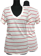 Tops308 Striped V-Neck S/S T-Shirt/Red