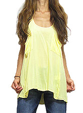 Tops349 Tank Top w/ Loose Pockets/Yellow