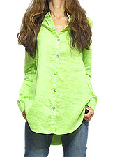 Tops390 Ramie Shirt w/ Shoulder Trim/Green