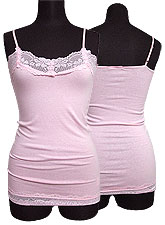 Tops422 Basic Lace Cami/Baby Pink