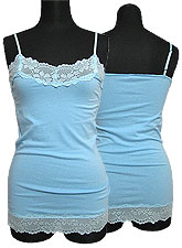 Tops423 Basic Lace Cami/Baby Blue