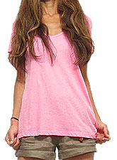 Tops439 Loose-Fitted V-Neck T/Pink