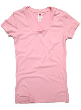 Tops440 Basic Scoop Neck Regular T/Pink