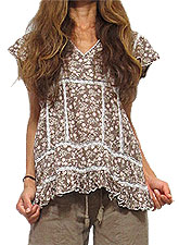 Tops444 Embroidery Trim Floral Blouse/Taupe