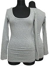 Tops451 Basic Scoop Neck L/S T/Heather Grey