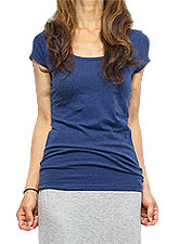 Tops491 Basic Scoop Neck S/S T-Shirt/Midnight