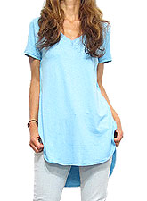 Tops501 Hi-Low V-Neck Tunic T/Angel Blue