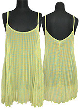 Tops519 Pleated Tunic Tank Top/Yellow Mix
