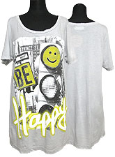 Tops551 Be Happy Loose-Fitted T-Shirt/Grey