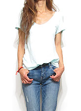 Tops598 Basic Relaxed V-Neck S/S T-Shirt/Mint