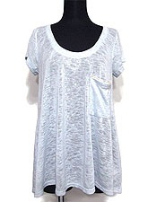 Tops657 Back Lace Trim Knitted T/Sky