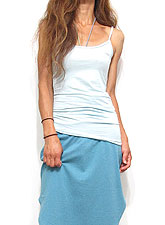 Tops663 Basic Adjustable Long Cami/Sky Blue