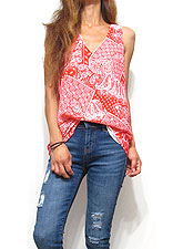 Tops667 Bandana Tank Blouse Red