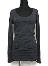 Tops690 Basic Scoop Neck L/S T-Shirt/Charcoal