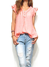 Tops712 Frill Sleeve V-Cut Blouse/Coral