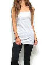 Tops727 Basic Adjustable Long Cami/Heather Grey