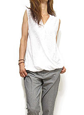 Tops753 Assymetric Button Down Tank Blouse/White
