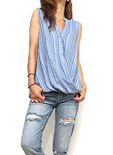 Tops754 Assymetric Button Down Tank Blouse/Blue
