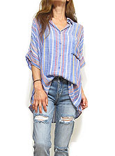 Tops759 Embroidery Stripe Drop Shoulder Shirt/Blue