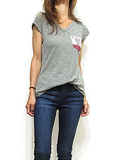 Tops762 V-Neck Slub T with LOVE Pocket/Grey