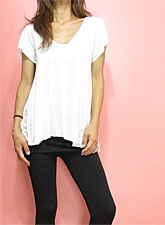 Tops766 Knit & Cut A-Line V-Neck Top/White