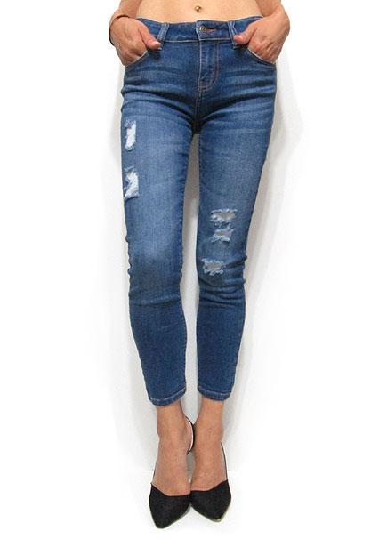 Denim055 Midrise Skinny Ankle Denim/Denim