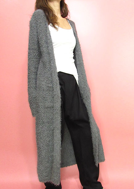 Knit230 Super Soft Maxi Long Open Cardigan/Grey